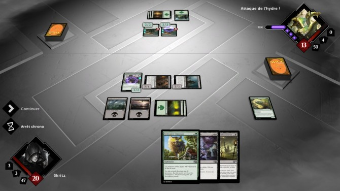 L'interface de Magic 2015 : duel of the planeswalker